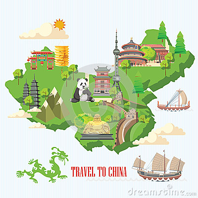 Free China Travel Illustration With Chinese Green Map. Chinese Set With Architecture, Food, Costumes, Traditional Symbols. Chinese Tex Royalty Free Stock Photography - 75121197