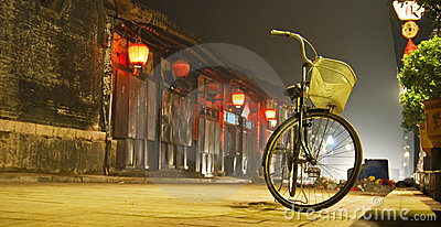 China village and bicycles