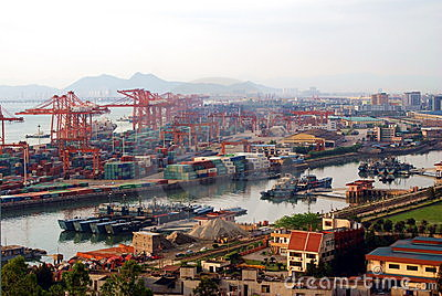 China xiamen sea port overview Editorial Photo
