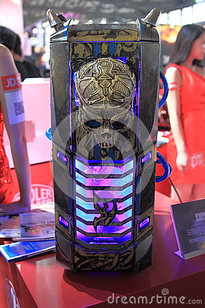 2013ChinaJoy:Skull shape of the computer chassis Editorial Image