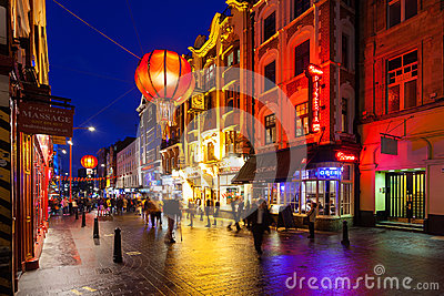 Chinatown London Night Time Editorial Photography