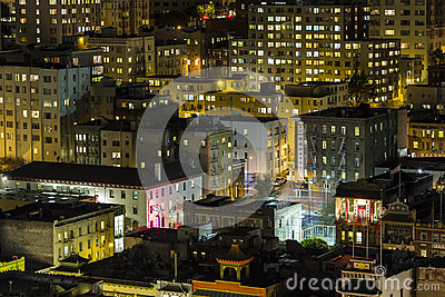 Chinatown Night San Francisco Editorial Stock Photo