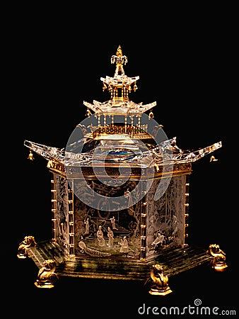Chinees paviljoen door steuben incl. glas. Redactionele Stock Afbeelding