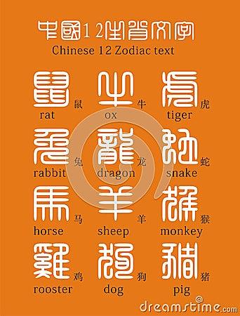 Chinese 12 Zodiac text