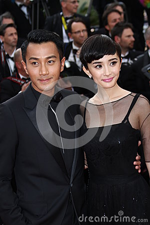 Chinese actress Yang Mi  and actor Hawick Lau Editorial Stock Image