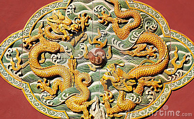 Chinese ancient statue with dragon figure