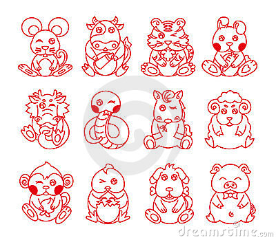 Chinese ancient zodiac animal year symbol