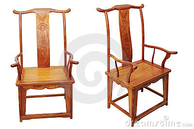 Chinese antique furniture chair on white