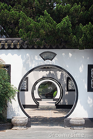 Free Chinese Arched Door Stock Image - 5654521