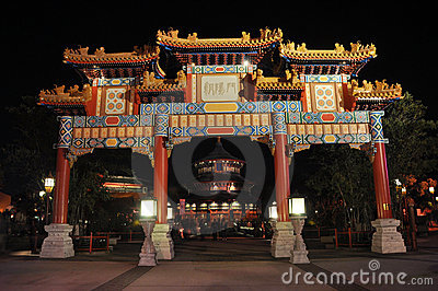 Chinese Archway in Disney Epcot at night, Orlando Editorial Photo
