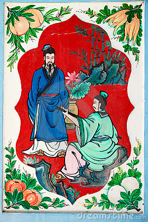 Chinese art paintings on the walls