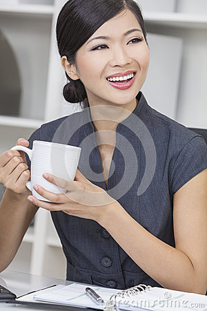 Chinese Asian Woman Businesswoman Drinking