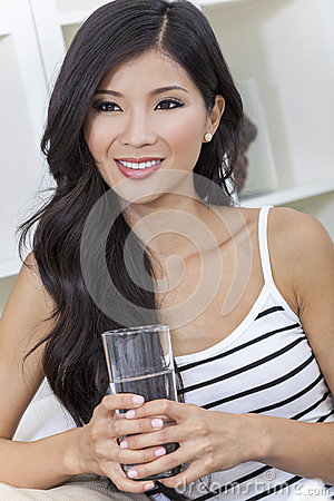 Chinese Asian Woman Drinking Glass of Water