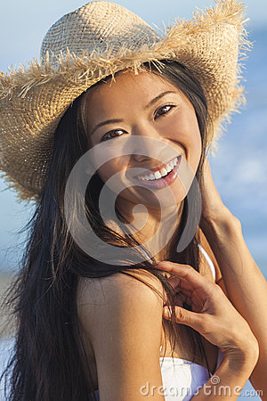 Free Chinese Asian Woman Girl Bikini Cowboy Hat Beach Stock Image - 32214581
