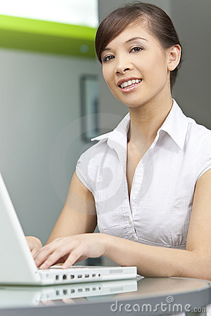 Chinese Asian Woman Using Laptop Computer