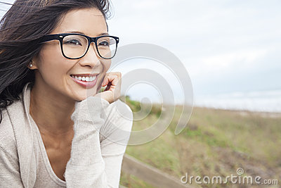 Portrait of a beautiful chinese asian girl or young woman outside