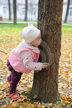 chinese baby in autumn park