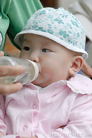 Chinese baby drinking water