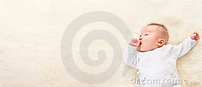 Chinese baby looking away to empty space