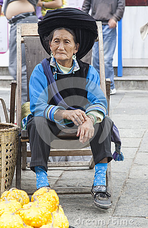 Chinese Bai Woman in Traditional Clothes Editorial Stock Image