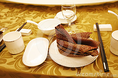 Chinese banquet table setting.