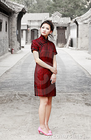 Chinese beauty in the alley Stock Photo