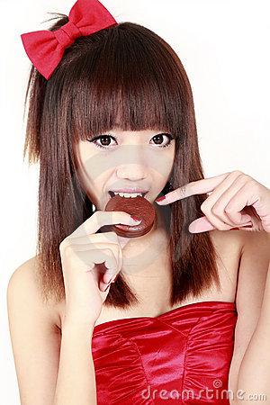 Chinese beauty eating pie