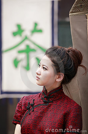 Chinese beauty outdoor. Stock Photo