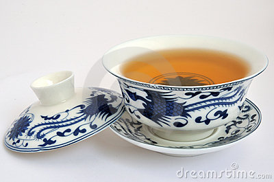 Chinese blue Painting tea cup and tea