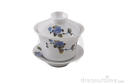 Chinese bowl with cover and saucer