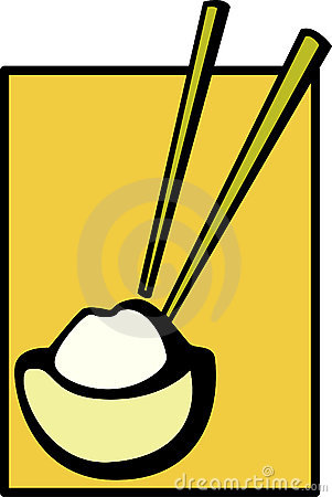 Chinese bowl of rice and chopsticks vector