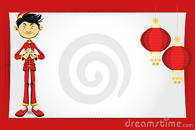 Chinese Boy New Year Greeting Card