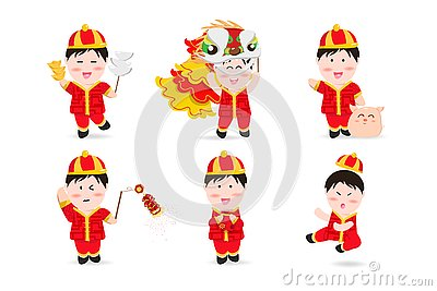 Chinese boy, people cute characters cartoon mascot, Chinese New Year, lion dance, firecracker, kung fu, pig and aerialist festive Vector Illustration
