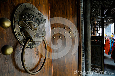 Chinese brass door knocker