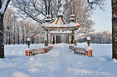 Chinese bridge in cold winter day