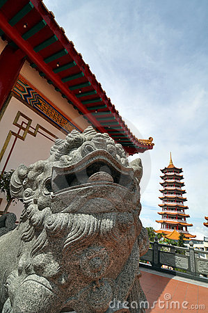 Chinese bronze lion statue at a pagoda temple