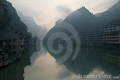 Chinese buildings on river