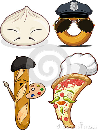 Chinese Bun, French Bread, Pizza & Doughnut