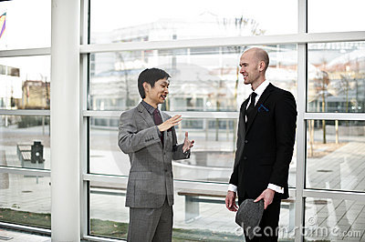 Chinese Business explaining details.