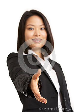 Chinese Businesswoman Reaching Out To Shake H