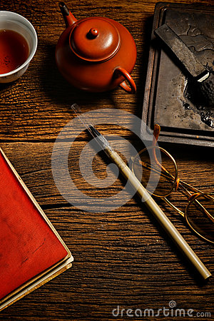 Free Chinese Calligraphy And Ink Stone Set On Table Royalty Free Stock Photo - 42697065