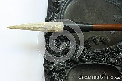 Chinese calligraphy tool——brush and inkstone