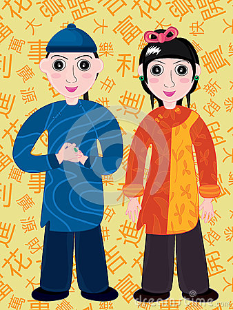 Chinese Cartoon Boy and Girl_eps