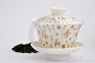 Chinese character painting tea cup and tea