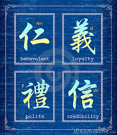 Chinese character symbol about morality