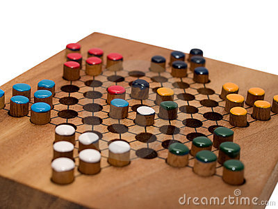 Chinese checkers game on wooden board
