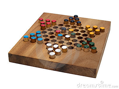 Chinese checkers wooden board isolated on white
