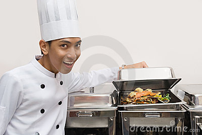 Chinese chef showing food