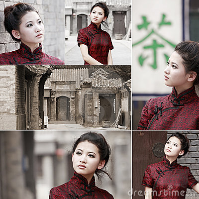 Chinese cheongsam beauty in alley