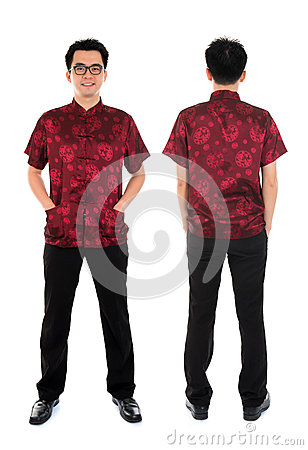 Chinese cheongsam male front and back view